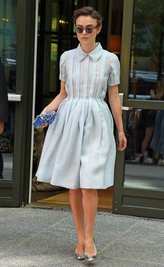 Keira Knightley in a cute buttoned-up dress
