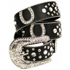 Black Horse Shoe Rhinestone Western Stud Belt ($30) ❤ liked on Polyvore featuring accessories, belts, black, rhinestone cowboy belts, horse belt, black belt, rhinestone belt and cowgirl belts