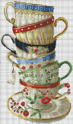 teacups free cross stitch chart