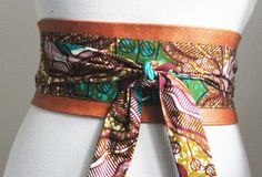 Tan leather Obi belt made out of Ankara wax print. totally unique belt  This beautiful belt will accentuate your style be it casual or formal. Cinch