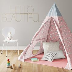 This tent is easy to set up and will provide years of fun for your little ones. A comfortable place for them to read and play, this teepee is the perfect gift and will be the perfect addition to any playroom or bedroom! Kids Tents, Teepee Kids, Teepee Tent, Teepee Nursery, Nursery Room, Girls Tent, Reading Tent, Accent Wall Bedroom, Accent Walls