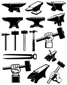 Set of blacksmith design elements. Hammer Logo, Hammer Tattoo, Tool Tattoo, Knife Logo, Blacksmith Hammer, La Forge, Woodworking Logo, Tool Design, Ad Design