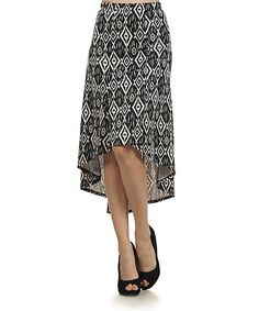 Another great find on #zulily! Black & White Diamond Hi-Low Skirt by Come N See #zulilyfinds