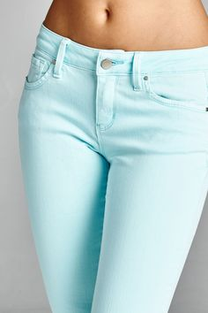 """Basic Skinny 98% Cotton 2% Spandex Model is wearing a size 3 Front rise: 7 1/2"""" Inseam: 30 1/2"""""""