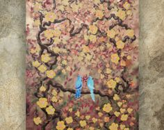 ORiGINAL ReSERVED for Moraima only! love birds CHERRY BLOSSOMS art sakura TREE painting gold contemporary artwork on unstretched canvas
