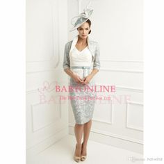 Minus the hat! 2014 Mother of the Bride - Buy 2014 Vestido De Lace Sexy V Neck Knee Length Vintage Mother Of The Bride Dresses with Jacket in 3/4 Long Sleeve Lace Bolero BO3612, DHgate