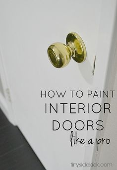 I'm showing you how to paint interior doors and get a really professional look with the HomeRight Finish Max paint sprayer. So easy for any level of DIYer. Painted Interior Doors, Painted Doors, Interior Paint, Wooden Doors, Interior Design, Interior Styling, Diy Spring, Do It Yourself Inspiration, Home Repairs