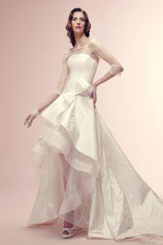Lace Bateau Neck Three-quarter Sleeves High Low Design Taffeta And Tulle Wedding Dress at Castlebridal.com