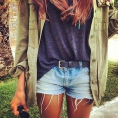 Army green shirt, charcoal t-shirt & denim cut-off shorts...super cool