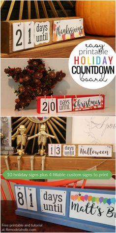 Easy DIY Holiday Countdown Board + Printables