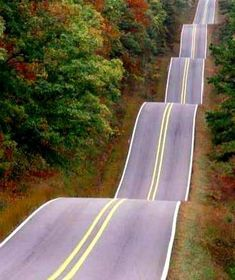 """Undulating road through autumnal forest"" - photo by Ryan/Beyer on Getty Images    ...Ken McVay (wired2cash), via Flickr has labeled this as ""South Carolina, Hwy 17"" – but another pinner has told me there are no such hills on Hwy 17 in SC.  I have gotten the link for the original photo instead of the mis-labeled one on Flickr."