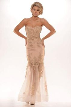 Portia & Scarlett Australian Designer CANDICE Nude Lace Formal Gown