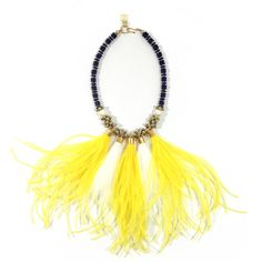 Yellow and White Alice Feather Bib in ebony wood, swarvoski pearl and gold beads