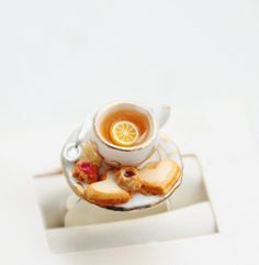 Cup of Tea and Heart Sugar Cookies Ring Miniature Food Jewelry - Food Jewelry