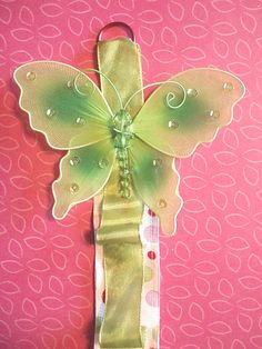 Green Butterfly Polka Dot Headband Holder by EverlastingsBySue, $14.99