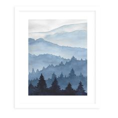 SHADES OF MOUNTAINS Framed Giclee Print With Mat By Jayne Conte - 16in x 20in