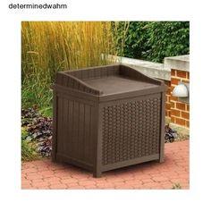 Outdoor Storage Box Pool Wicker Resin Deck Seat Porch Patio Garden Furniture