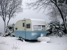 1956 RAINBOW Trailer in snow. Gorgeous!