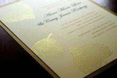 Elegant gold foil falling leaves wedding invite