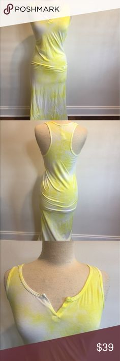 "New Spoiled Tye Dye Maxi Dress New Spoiled Maxi Tye Dye Dress. Size S. yellow and white v slit front with racer back style. Length around 48"". Ships out same day or next day once ordered. Spoiled Dresses Maxi"