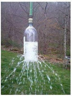 soda bottles, water fun, outdoor showers, trees, tree branches