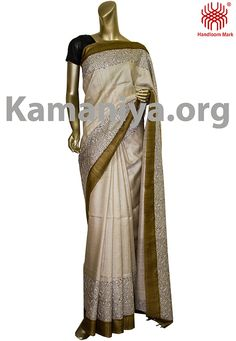 Description: This is a Handblock printed gachi Tussar silk saree with kantha work on the boder. The Mannequin is wearing a blouse from our stylist's collection. Code No: S/DAD06 Visit our Website: http://kamaniya.org/