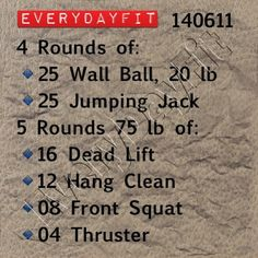 25 Wall Ball, 25 Jump Squat: 20 Back Squat, 20 Ball Curl, 20 Sumo Squat, 20 Thrusters