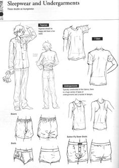"""Another splendid fuck-ton of clothing references. Someone scanned this from a book called """"Drawing Yaoi."""""""