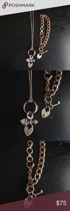 Fossil rose gold necklace and bracelet set Fossil rose gold tone necklace with heart lock charm. Matching rose gold tone chain bracelet with heart lock charm. Excellent used condition could mistake as brand new!! Fossil Jewelry Necklaces