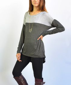 Love this Charcoal Color Block Hi-Low Tunic on #zulily! #zulilyfinds