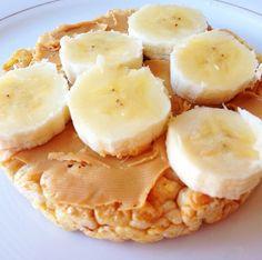 Rice cake peanut butter and banana.