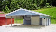 x x Utility Carport with Vertical Roof. Features include a Enclosed area with Garage Door, Walk in Door, Gable End, ½ Panel on each side. Carport With Storage, Pergola Carport, Built In Storage, Diy Pergola, Enclosed Carport, Portable Carport, Pergola Shade, Pergola Kits, Pergola Ideas