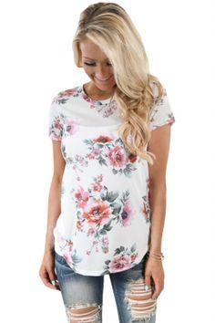 Short Sleeve Round Neck Blossoming Womens T-shirt