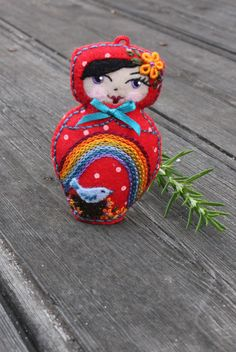 Matryoshka  Hand Embroidered Felt with Bird by TheSnowQueensGarden, $19.50