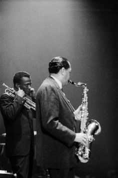 Miles Davis plugging his ears during a Lester Young solo.