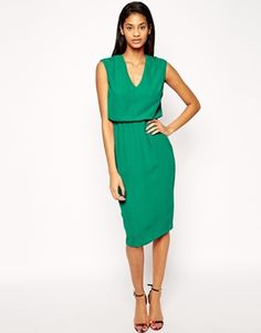 Great Work Dress: ASOS Pencil Dress with Blouson and Low V