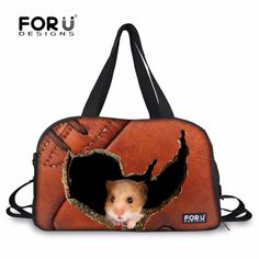 4623ddd512 FORUDESIGNS 3D Luggage Travel Bags for Women Men Travel Bag Female Duffel  Tote Large Canvas Hamster