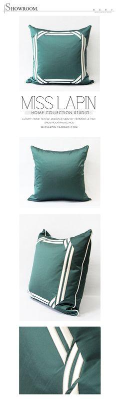 MISS LAPIN/法式/样板房/沙发床头/抱枕/湖蓝现代框立体绣花方枕-淘宝网