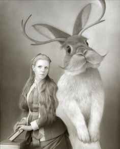 art-and-fury:  Miss K and Her Jackalope - Travis Louie   (more)