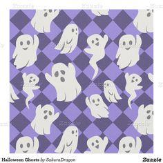 Halloween Ghosts Fabric #halloween #ghost #cute #blue #spooky