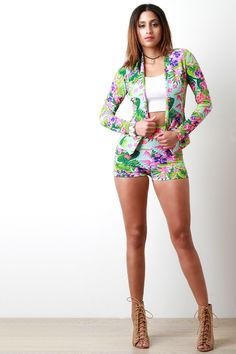 Blooming Tropical Flowers High Waisted Shorts