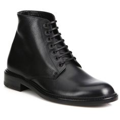 Saint Laurent Lolita Leather Booties (32,515 THB) ❤ liked on Polyvore featuring shoes, boots, ankle booties, apparel & accessories, black, black leather ankle booties, black leather booties, black lace up boots, black bootie and leather lace up boots