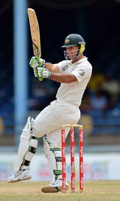 Australian #batsman Ricky #Ponting plays a shot during the fourth day of the second-of-three Test matches between Australia and West Indies April 18, 2012 at Queen's Park Oval in Port of Spain, Trinidad.