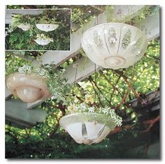 Vintage glass light shades made into hanging planters - Love!!!