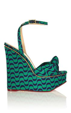 Charlotte Olympia Miranda Sandal in Copacabana. $985. Signature 155mm/6.1 in. wedge, knot detail at the open toe, and belt-style ankle strap. Adjustable buckle closure at ankle strap. Silk, leather sole and insole. Made in Italy.
