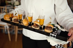 burger sliders and beer shots, wedding cocktail hour food, wedding reception, wedding photography, passed appetizers