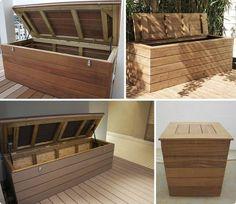 coffre - terrasse bois - rangement - vérins