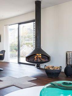 cheminee centrale suspendue Ergofocus #design Dominique Imbert ...