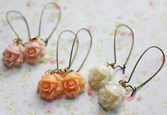 Field of Rose Earrings Pink. White. Tangerine by rosesandlemons, $19.00