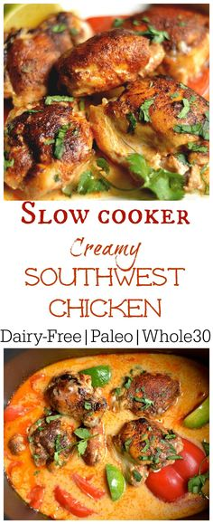 Slow Cooker Creamy Southwest Chicken (Paleo, – Wholesomelicious Super easy and packed with flavor this weeknight dinner is one the whole family will love! Set it and forget it with your slow cooker! Whole Food Recipes, Cooking Recipes, Healthy Recipes, Healthy Food, Cooking Bacon, Cooking Games, Coconut Milk Whole 30 Recipes, Cooking Broccoli, Healthy Eating